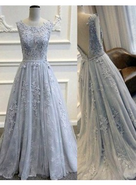 LadyPromDress 2019 Blue Beading Appliques Backless A-Line/Princess Tulle Prom Dresses
