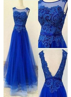 LadyPromDress 2019 Blue Lace Backless A-Line/Princess Tulle Prom Dresses