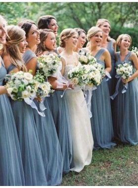 2021 Cheap A Line Tulle Halter Floor Length Bridesmaid Dresses / Gowns