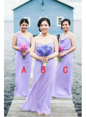 2021 Cheap A Line Lilac Chiffon Floor Length Bridesmaid Dresses / Gowns