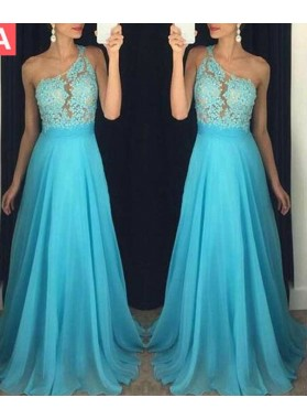LadyPromDress 2020 Blue Beading Appliques One Shoulder A-Line/Princess Chiffon Prom Dresses