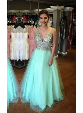 V-Neck Sequins Floor-Length/Long A-Line/Princess Tulle LadyPromDress 2019 Blue Prom Dresses