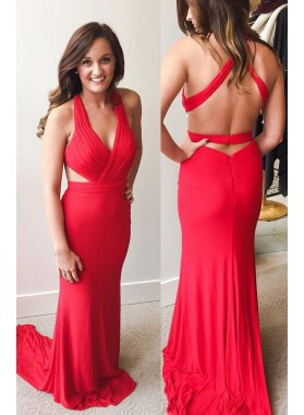 2019 Gorgeous Red Ruching Halter Column/Sheath Stretch Satin Prom Dresses