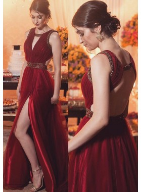 Burgundy Sleeveless Backless Beading Split Front A-Line/Princess Satin Prom Dresses