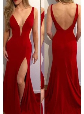 2019 Gorgeous Red V-Neck Split Front Sweep Train Prom Dresses