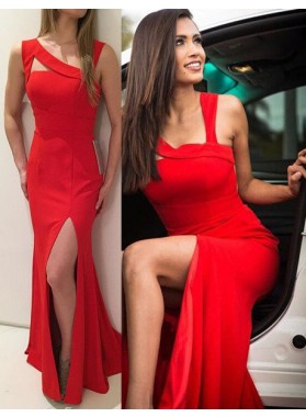 2018 Gorgeous Red Prom Dresses Straps Front-Slit Stretch Satin