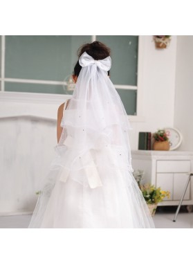 White Butterfly Princess Veil First Communion Veil Flower Girl Veil Custom Made Girl's Veil