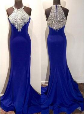 Royal Blue Crystal Mermaid/Trumpet Stretch Satin Prom Dresses