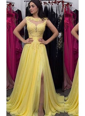 Yellow Sleeveless Split Front Appliques A-Line/Princess Chiffon Prom Dresses