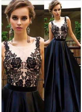 2019 Junoesque Black Round Neck Appliques A-Line/Princess Satin Prom Dresses
