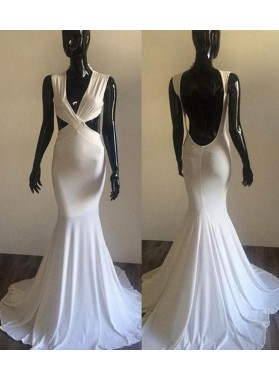 2019 Unique White Backless Mermaid/Trumpet Stretch Satin Prom Dresses