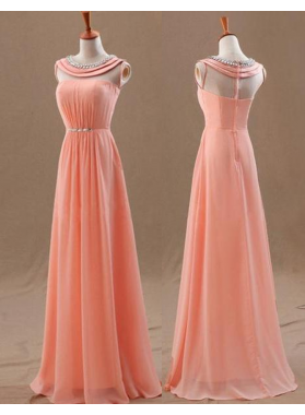 Scoop Neck A-Line/Princess Chiffon Prom Dresses