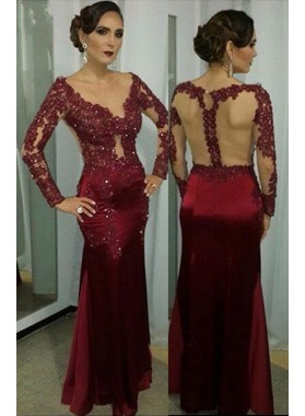 Burgundy V-Neck Sheer Back Beading Stretch Satin Prom Dresses