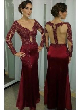 Burgundy V-Neck Sheer Back Beading Stretch Satin Prom Dresses