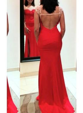 2019 Gorgeous Red Illusion Beading Column/Sheath Satin Prom Dresses