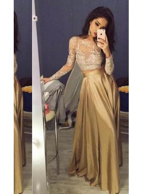 Illusion Lace Stretch Satin Two Pieces Prom Dresses