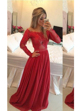 2019 Gorgeous Red Beading Appliques Off-the-Shoulder Chiffon Prom Dresses