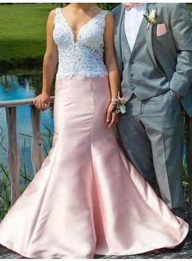 Lace V-Neck Mermaid/Trumpet Satin Prom Dresses