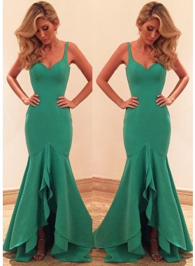 Straps Layers Mermaid/Trumpet Satin Prom Dresses