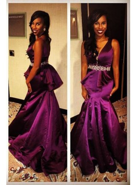 Grape V-Neck Mermaid/Trumpet Satin Prom Dresses