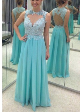 LadyPromDress 2019 Blue Beading Appliques A-Line/Princess Chiffon Prom Dresses