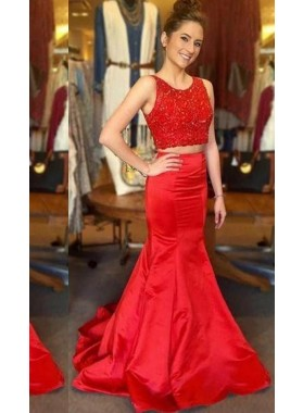 2018 Gorgeous Red Beading Mermaid/Trumpet Satin Two Pieces Prom Dresses