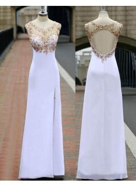 Beading Sheer High-Slit Chiffon Prom Dresses
