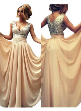 Floor-Length/Long V-Neck A-Line/Princess Chiffon Prom Dresses