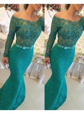 Beading Off-the-Shoulder Floor-Length/Long Mermaid/Trumpet Lace Prom Dresses