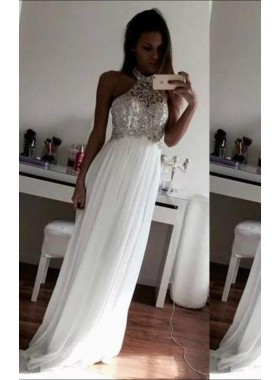 2019 Unique White Beading Halter Floor-Length/Long A-Line/Princess Chiffon Prom Dresses
