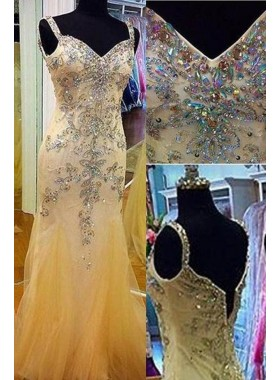 Floor-Length/Long Mermaid/Trumpet Straps Tulle Prom Dresses