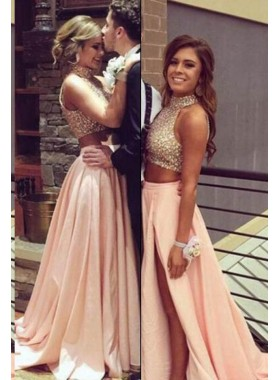 Beading Halter A-Line/Princess Satin Two Pieces Prom Dresses