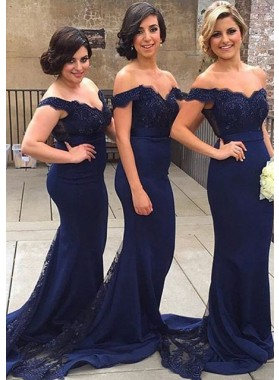 2019 New Arrival Mermaid Dark Navy Satin Lace Off The Shoulder Long Bridesmaid Dresses / Gowns