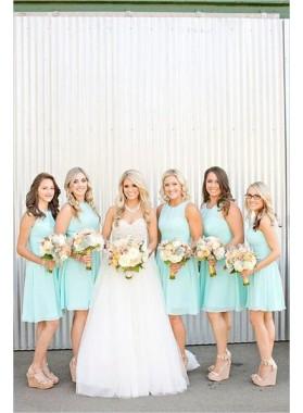 Cheap Chiffon A Line Knee Length Ruffles Short Bridesmaid Dresses
