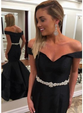 2021 Junoesque Black Crystal Off-the-Shoulder Mermaid/Trumpet Prom Dresses