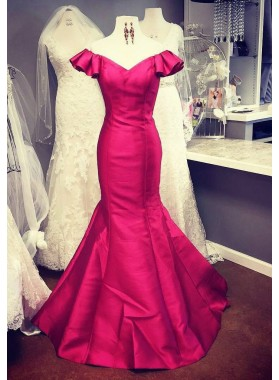 Mermaid/Trumpet Natural Floor-Length/Long Satin Fuchsia Prom Dresses