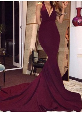 Burgundy Mermaid/Trumpet V Neck Backless Sweep Train Prom Dresses
