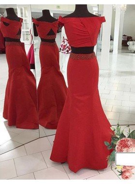 2018 Gorgeous Red Off-the-Shoulder Mermaid/Trumpet Satin Two Pieces Prom Dresses