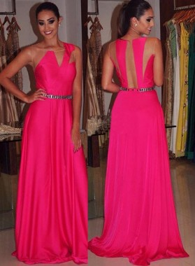 Beading Sleeveless Sheer Back Prom Dresses
