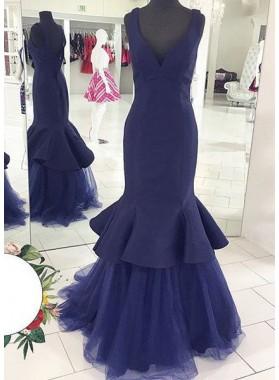 LadyPromDress 2019 Blue V-Neck Ruffles Mermaid/Trumpet Satin Prom Dresses