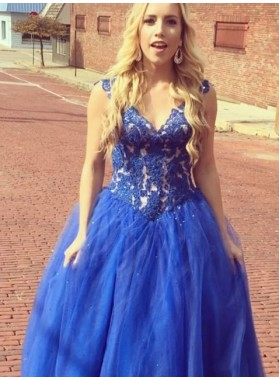Royal Blue Appliques Ball Gown Tulle Prom Dresses
