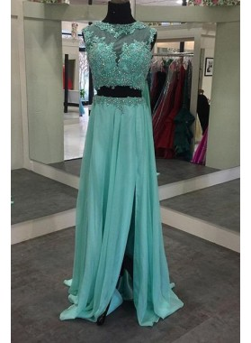 Sleeveless Natural Split Front Beading A-Line/Princess Chiffon Prom Dresses