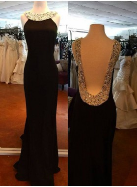 Backless Sleeveless Natural Beading Column/Sheath 2019 Junoesque Black Prom Dresses