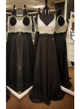 2019 Junoesque Black V-Neck Beading Natural Floor-Length/Long Chiffon Prom Dresses