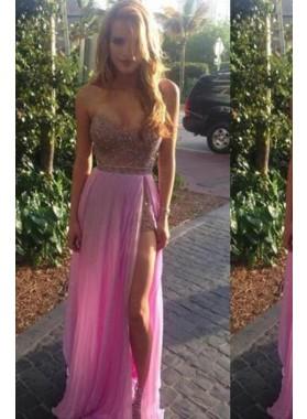 Beading Sweetheart High-Slit Chiffon Lavender Prom Dresses