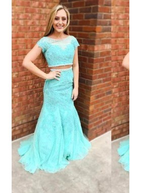 LadyPromDress 2019 Blue Short Sleeves Mermaid/Trumpet Lace Two Pieces Prom Dresses