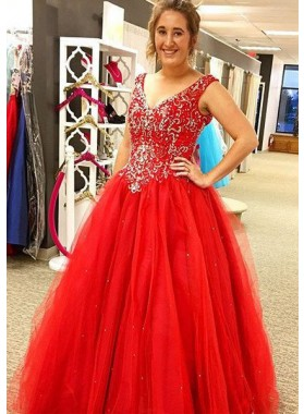 2018 Gorgeous Red V-Neck Beading Ball Gown Tulle Prom Dresses