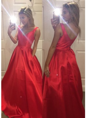 2019 Gorgeous Red V-Neck A-Line/Princess Sleeveless Satin Prom Dresses