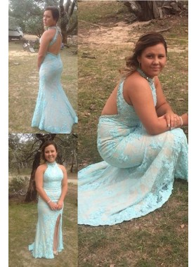 Halter Split Front Column/Sheath Lace Prom Dresses