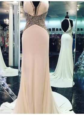 V-Neck Backless Sweep Train Beading Column/Sheath Chiffon Prom Dresses